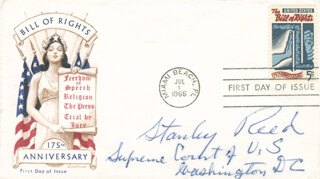 ASSOCIATE JUSTICE STANLEY F. REED - FIRST DAY COVER SIGNED