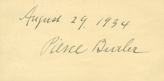 ASSOCIATE JUSTICE PIERCE BUTLER - AUTOGRAPH 08/29/1934