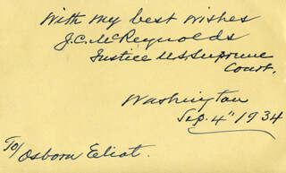 Autographs: ASSOCIATE JUSTICE JAMES C. MCREYNOLDS - AUTOGRAPH NOTE SIGNED 09/04/1934