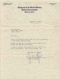 PRESIDENT LYNDON B. JOHNSON - TYPED LETTER SIGNED 08/12/1941
