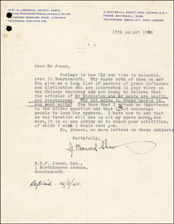 Autographs: GEORGE BERNARD SHAW - TYPED LETTER SIGNED 08/13/1940
