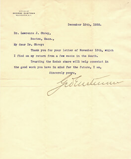 GEORGE EASTMAN - TYPED LETTER SIGNED 12/15/1930