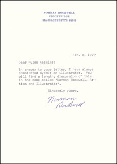 NORMAN ROCKWELL - TYPED LETTER SIGNED 02/08/1977