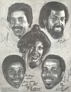 THE PLATTERS - ILLUSTRATION SIGNED CO-SIGNED BY: THE PLATTERS (MONROE POWELL), THE PLATTERS (GERI HOLIDAY), THE PLATTERS (TERRY SMITH), THE PLATTERS (SHERMAN JAMES), THE PLATTERS (GENE WILLIAMS)