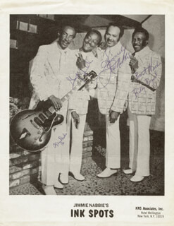 THE INK SPOTS - AUTOGRAPHED SIGNED PHOTOGRAPH CO-SIGNED BY: THE INK SPOTS (JIM NABBIE), THE INK SPOTS (KING DRAKE), THE INK SPOTS (GEORGE CORNELL), THE INK SPOTS (BILLY BYERD)