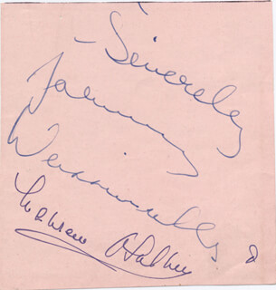 TARZAN MOVIE CAST - AUTOGRAPH CO-SIGNED BY: JOHNNY WEISSMULLER, MAUREEN O'SULLIVAN