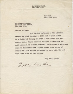 GYPSY ROSE LEE - TYPED LETTER SIGNED 04/13/1936