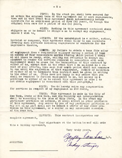 GYPSY ROSE LEE - DOCUMENT SIGNED 12/05/1935 CO-SIGNED BY: AUDREY STURGES
