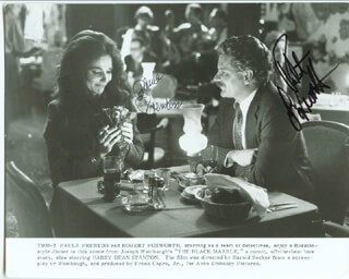 BLACK MARBLE MOVIE CAST - PRINTED PHOTOGRAPH SIGNED IN INK CO-SIGNED BY: ROBERT FOXWORTH, PAULA PRENTISS - HFSID 41286