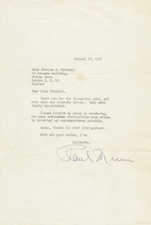 PAUL MUNI - TYPED LETTER SIGNED 01/29/1957