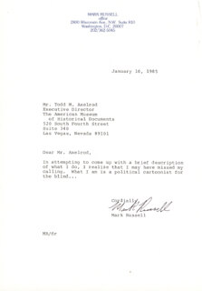 MARK RUSSELL - TYPED LETTER SIGNED 01/10/1985