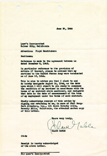 CLARK GABLE - CONTRACT SIGNED 06/29/1944