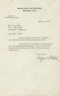 ASSOCIATE JUSTICE HUGO L. BLACK - TYPED LETTER SIGNED 04/06/1953