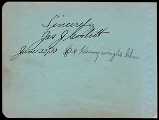 JAMES J. GENTLEMAN JIM CORBETT - AUTOGRAPH 06/23/1930 CO-SIGNED BY: W. FREELAND KENDRICK