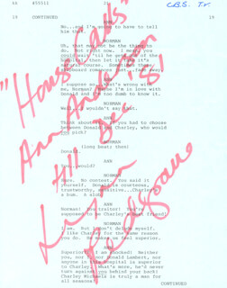 LYNN REDGRAVE - SCRIPT PAGE SIGNED