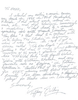 TIFFANY BOLLING - AUTOGRAPH LETTER SIGNED