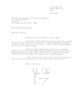 JOHN CATER - TYPED LETTER SIGNED 02/14/1985