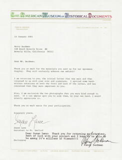 HENRY BECKMAN - TYPED NOTE SIGNED