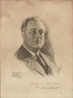 Autographs: PRESIDENT FRANKLIN D. ROOSEVELT - INSCRIBED ILLUSTRATION SIGNED