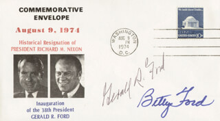 PRESIDENT GERALD R. FORD - COMMEMORATIVE ENVELOPE SIGNED CO-SIGNED BY: FIRST LADY BETTY FORD