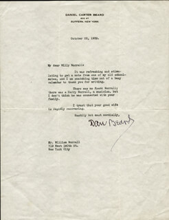 DANIEL C. BEARD - TYPED LETTER SIGNED 10/23/1939