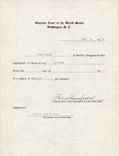 ASSOCIATE JUSTICE FELIX FRANKFURTER - DOCUMENT SIGNED 06/10/1953