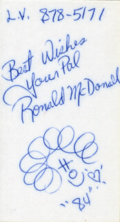 Autographs: RONALD McDONALD - ORIGINAL ART SIGNED 1984