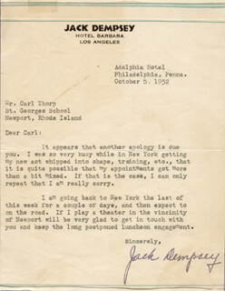 JACK DEMPSEY - TYPED LETTER SIGNED 10/05/1932