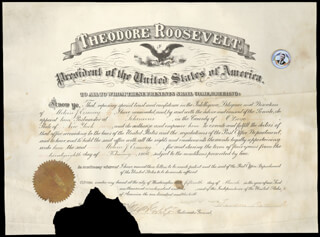 Autographs: PRESIDENT THEODORE ROOSEVELT - CIVIL APPOINTMENT SIGNED 03/15/1906 CO-SIGNED BY: GEORGE B. CORTELYOU