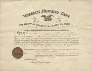 Autographs: PRESIDENT WILLIAM H. TAFT - CIVIL APPOINTMENT SIGNED 03/21/1910 CO-SIGNED BY: FRANK H. HITCHCOCK