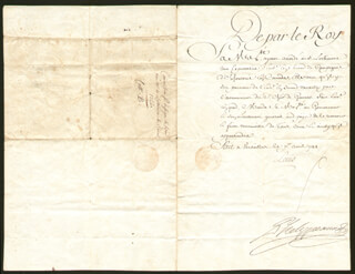 Autographs: KING LOUIS XV (FRANCE) - DOCUMENT UNSIGNED 04/01/1744 WITH COUNT MAUREPAS (JEAN-FREDERIC PHELYPEAUX)
