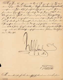 Autographs: EMPEROR WILLIAM II - MILITARY APPOINTMENT SIGNED 03/02/1902