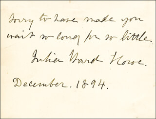 JULIA WARD HOWE - AUTOGRAPH NOTE SIGNED 12/1894