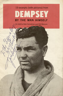 JACK DEMPSEY - INSCRIBED PAMPHLET SIGNED