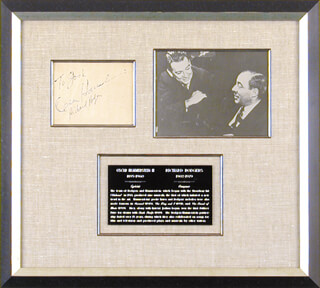 Autographs: RICHARD RODGERS - INSCRIBED SIGNATURE CO-SIGNED BY: OSCAR HAMMERSTEIN II