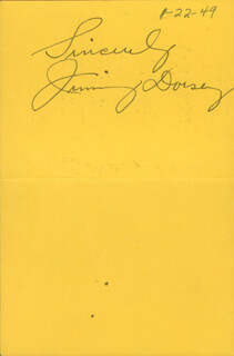 JIMMY DORSEY - ADVERTISEMENT SIGNED CIRCA 1949