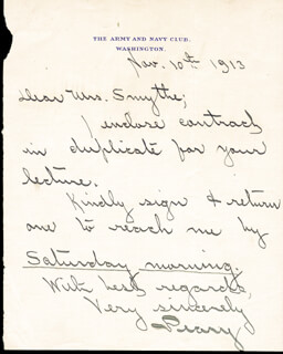 ADMIRAL ROBERT E. PEARY - AUTOGRAPH LETTER SIGNED 11/10/1913