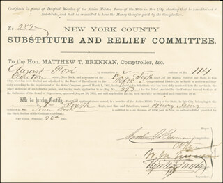 WILLIAM M. BOSS TWEED - DOCUMENT SIGNED 09/26/1863 CO-SIGNED BY: MATTHEW T. BRENNAN