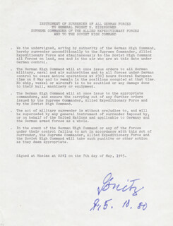 Autographs: GRAND ADMIRAL KARL DONITZ - TYPESCRIPT SIGNED 10/15/1980
