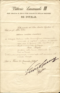 Autographs: PRIME MINISTER BENITO (IL DUCE) MUSSOLINI (ITALY) - CIVIL APPOINTMENT SIGNED 11/23/1922 CO-SIGNED BY: KING VICTOR EMMANUEL III (ITALY)