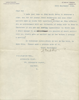 Autographs: GEORGE BERNARD SHAW - TYPED LETTER SIGNED 09/23/1914