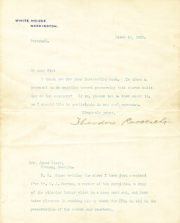 PRESIDENT THEODORE ROOSEVELT - TYPED LETTER SIGNED 03/18/1905