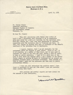 ASSOCIATE JUSTICE HAROLD H. BURTON - TYPED LETTER SIGNED 04/12/1954