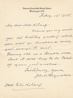 ASSOCIATE JUSTICE JAMES C. MCREYNOLDS - AUTOGRAPH LETTER SIGNED 02/16/1935