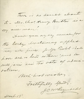 ASSOCIATE JUSTICE JAMES C. MCREYNOLDS - AUTOGRAPH LETTER SIGNED 3/13