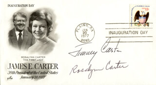 PRESIDENT JAMES E. JIMMY CARTER - INAUGURATION DAY COVER SIGNED CO-SIGNED BY: FIRST LADY ROSALYNN CARTER