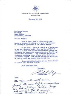 PRESIDENT RICHARD M. NIXON - TYPED LETTER SIGNED 11/17/1954