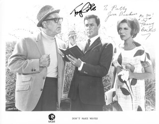 DON''T MAKE WAVES MOVIE CAST - AUTOGRAPHED SIGNED PHOTOGRAPH CO-SIGNED BY: JIM BACKUS, HENNY (MRS. JIM) BACKUS, TONY CURTIS