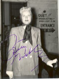 BETTY GRABLE - AUTOGRAPHED SIGNED PHOTOGRAPH