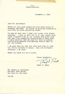 Autographs: PEARL S. BUCK - TYPED LETTER SIGNED 12/04/1954